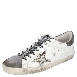 Golden Goose White/Grey Leather Superstar Sneakers Size EU 44