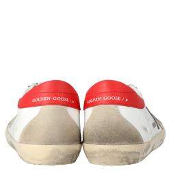 Golden Goose White/Red Leather Superstar Sneakers Size EU 44