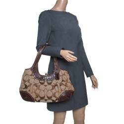 Coach Beige/Brown Signature Canvas and Leather Kiss Lock Shoulder Bag