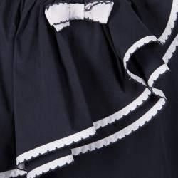 فستان أرماني جونيور أزرق كحلي بكشكشة مزينة بلا أكمام 8 سنوات