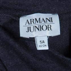 فستان أرماني جونيور تريكو رصاصي فحمي بعنق مرتفع أكمام طويلة مقاس 6 سنوات