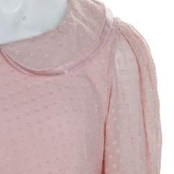 Baby Dior Pink Silk Dobby Long Sleeve Drop Waist Dress 10 Yrs