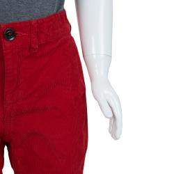 Burberry Children Red Corduroy Trousers 6 Yrs
