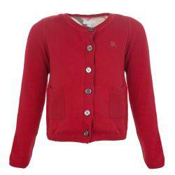 Burberry Children Red  Long Sleeve Button Down Cardigan 7 Yrs