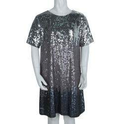 Chloe Silver Ombré All Over Sequin Embellished Short Sleeve Dress 10 Yrs