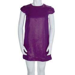 Gucci Purple Brocade Cap Sleeve Dress 8 Yrs
