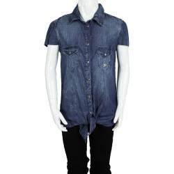 John Galliano Kids Indigo Washed Faded Effect Denim Tie Bottom Shirt 14 Yrs