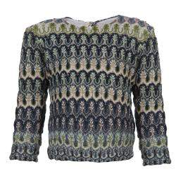 Missoni Multicolor Crochet Embroidered Long Sleeve Sweater 4 Yrs