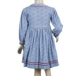 Oscar de la Renta Blue Floral Print Corduroy Long Sleeve Dress 5 Yrs
