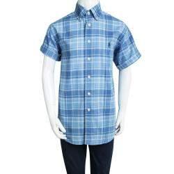 Ralph Lauren Blue Checked Cotton Short Sleeve Buttondown Shirt 8 Yrs