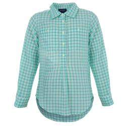 Ralph Lauren White and Green Checked Long Sleeve Button-Down Cotton Shirt 6 Yrs
