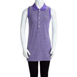 Ralph Lauren Purple Honeycomb Knit Sleeveless Polo T-Shirt 16 Yrs