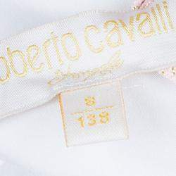 Roberto Cavalli Angels White Ruffle Neck Button Down Shirt 8 Yrs