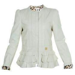 Roberto Cavalli Angels Cream Frill Detail Leather Jacket 12 Yrs