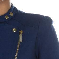 Roberto Cavalli Angels Navy Blue Frill Detail Biker Jacket 12 Yrs