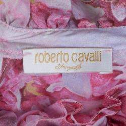 Roberto Cavalli Angels Pink Floral Printed Silk Ruffle Detail Long Sleeve Top 6 Yrs