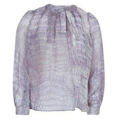 Roberto Cavalli Reptile Print Silk Bow Detail Long Sleeve Blouse 6 Yrs