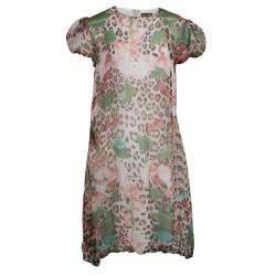 Roberto Cavalli Printed Silk Elasticated Hem Dress XS