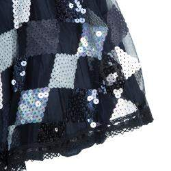 Roma e Tosca Navy Blue Sequin Embellished Skirt 12 Yrs