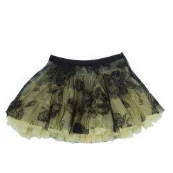 Roma e Tosca Yellow Lace Rose Print Overlay Skirt 12 Yrs