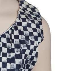 Roma e Tosca Blue & White Square Print Sleeveless Dress 10 Yrs