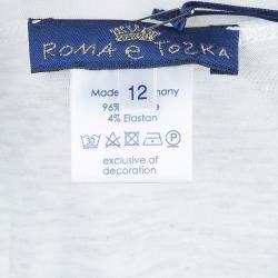 Roma e Tosca Light Grey Melange Printed Trim Dress 12 Yrs