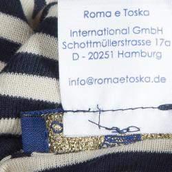 Roma e Tosca Monochrome Striped Patch Print Halter Top 10 Yrs