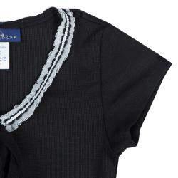 Roma e Tosca Black Lace Trim Tshirt 8 Yrs