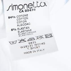 Simonetta Mini White Striped Sleeveless Tshirt 7 Yrs