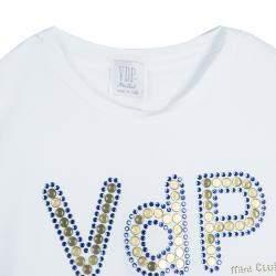 VDP White Swarovski Embellished Logo Tshirt 12 Yrs