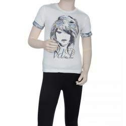 VDP White Swarovski Embellished Printed Tshirt 12 Yrs
