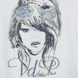 VDP White Swarovski Embellished Printed Tshirt 4 Yrs
