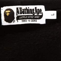 A Bathing Ape Black Knit Camo Panda Print Shark Detail Hoodie L