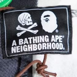 A Bathing Ape X Neighborhood Monochrome Color Block Knit Shark Hoodie M