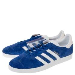 Adidas Blue/White Suede And Leather Gazelle Sneakers Size 46.5