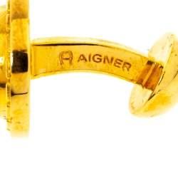 Aigner Logo Gold Tone Cufflinks