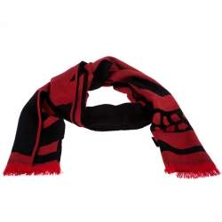 Alexander McQueen Black & Red Skull Patterned Wool Scarf
