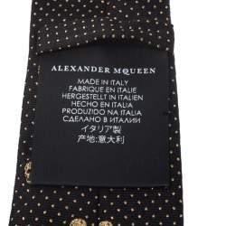 Alexander McQueen Black and Gold Lurex Jacquard Skull Skinny Silk Tie