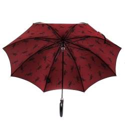 Alexander McQueen Black Dancing Skeleton Print Nylon Long Umbrella