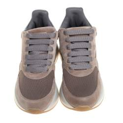 Alexander McQueen Beige/Grey Suede Leather And Mesh Runner Raised Sole Low Top Sneakers Size 42
