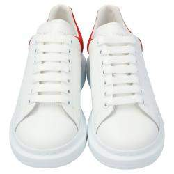 Alexander McQueen White/Red Leather Oversized Low Top Sneakers Size EU 41