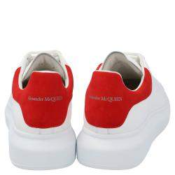 Alexander McQueen White/Red Leather Oversized Sneakers Size EU 42.5