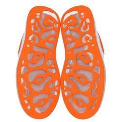 Alexander McQueen White/Orange Leather Oversized Clear Sole Sneakers Size EU 45