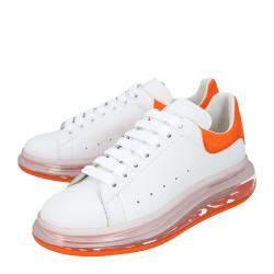 Alexander McQueen White/Orange Oversized Transparent Sole Sneakers Size EU 40