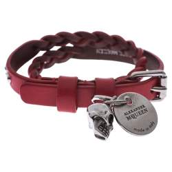 Alexander McQueen Red Leather Silver Tone Wrap Bracelet