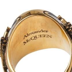 Alexander McQueen Skull Motif Enamel Gold Tone Ring Size 60