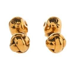 Alexander McQueen Crystal Skull Motif Gold Tone Cufflinks