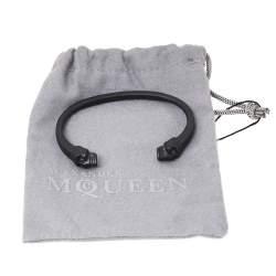 Alexander McQueen Twin Skull Motif Black Tone Cuff Bracelet