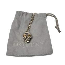 Alexander McQueen Silver Tone Divided Skull Necklace