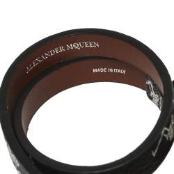 Alexander McQueen Black Printed Leather Skull Charm Double Wrap Bracelet